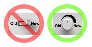 Ao refazer um sistema, deve-se evitar a troca brusca do antigo para o novo. O ideal é fazer uma transição contínua, onde a nova versão vá substituindo a anterior aos poucos.