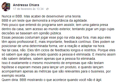 Andressa Chiara - BBB e Agilidade