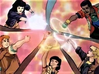 Os cinco defensores com o braço estendido invocando o Capitão Planeta.