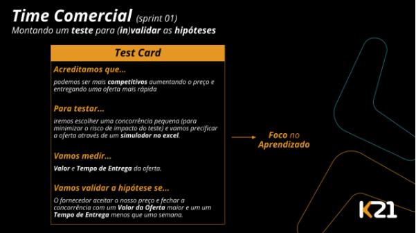 Montando um teste card para times de produto